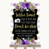 Gold & Purple Stripes Selfie Photo Prop Customised Wedding Sign