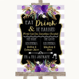 Gold & Purple Stripes Signature Favourite Drinks Customised Wedding Sign