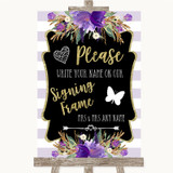Gold & Purple Stripes Signing Frame Guestbook Customised Wedding Sign