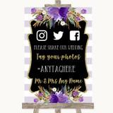 Gold & Purple Stripes Social Media Hashtag Photos Customised Wedding Sign