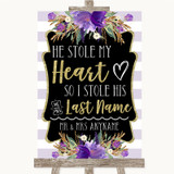 Gold & Purple Stripes Stole Last Name Customised Wedding Sign