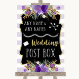 Gold & Purple Stripes Card Post Box Customised Wedding Sign