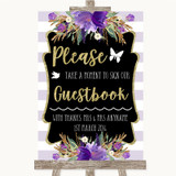 Gold & Purple Stripes Take A Moment To Sign Our Guest Book Wedding Sign