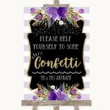 Gold & Purple Stripes Take Some Confetti Customised Wedding Sign