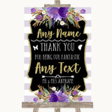Gold & Purple Stripes Thank You Bridesmaid Page Boy Best Man Wedding Sign