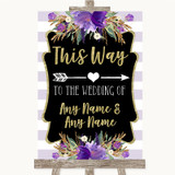 Gold & Purple Stripes This Way Arrow Right Customised Wedding Sign
