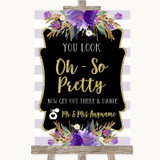 Gold & Purple Stripes Toilet Get Out & Dance Customised Wedding Sign