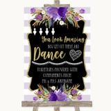 Gold & Purple Stripes Toiletries Comfort Basket Customised Wedding Sign