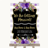 Gold & Purple Stripes We Are Getting Married Customised Wedding Sign
