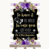 Gold & Purple Stripes Wedding Blanket Scarf Customised Wedding Sign