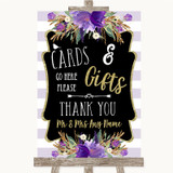 Gold & Purple Stripes Cards & Gifts Table Customised Wedding Sign
