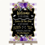 Gold & Purple Stripes Welcome Order Of The Day Customised Wedding Sign