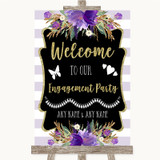 Gold & Purple Stripes Welcome To Our Engagement Party Customised Wedding Sign