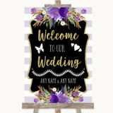 Gold & Purple Stripes Welcome To Our Wedding Customised Wedding Sign