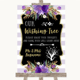 Gold & Purple Stripes Wishing Tree Customised Wedding Sign