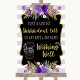 Gold & Purple Stripes Wishing Well Message Customised Wedding Sign