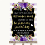Gold & Purple Stripes In Our Thoughts Customised Wedding Sign