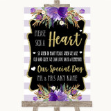 Gold & Purple Stripes Sign a Heart Customised Wedding Sign
