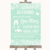 Green Burlap & Lace Alcohol Bar Love Story Customised Wedding Sign