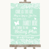 Green Burlap & Lace All Family No Seating Plan Customised Wedding Sign