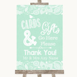Green Burlap & Lace Cards & Gifts Table Customised Wedding Sign