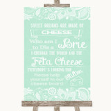 Green Burlap & Lace Cheese Board Song Customised Wedding Sign