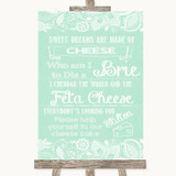 Green Burlap & Lace Cheesecake Cheese Song Customised Wedding Sign