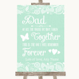 Green Burlap & Lace Dad Walk Down The Aisle Customised Wedding Sign