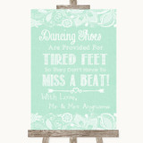 Green Burlap & Lace Dancing Shoes Flip-Flop Tired Feet Customised Wedding Sign