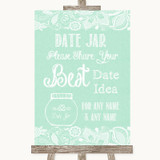 Green Burlap & Lace Date Jar Guestbook Customised Wedding Sign