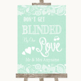 Green Burlap & Lace Don't Be Blinded Sunglasses Customised Wedding Sign