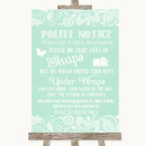 Green Burlap & Lace Don't Post Photos Facebook Customised Wedding Sign
