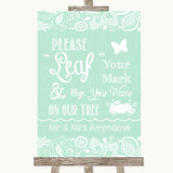 Green Burlap & Lace Fingerprint Tree Instructions Customised Wedding Sign