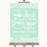 Green Burlap & Lace Friends Of The Bride Groom Seating Customised Wedding Sign