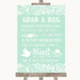 Green Burlap & Lace Grab A Bag Candy Buffet Cart Sweets Wedding Sign