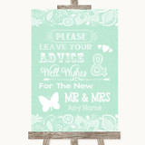 Green Burlap & Lace Guestbook Advice & Wishes Mr & Mrs Customised Wedding Sign