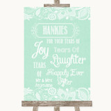 Green Burlap & Lace Hankies And Tissues Customised Wedding Sign