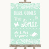 Green Burlap & Lace Here Comes Bride Aisle Sign Customised Wedding Sign