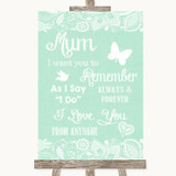 Green Burlap & Lace I Love You Message For Mum Customised Wedding Sign