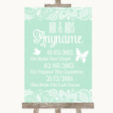 Green Burlap & Lace Important Special Dates Customised Wedding Sign