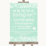 Green Burlap & Lace Instagram Photo Sharing Customised Wedding Sign