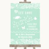 Green Burlap & Lace Let Love Sparkle Sparkler Send Off Customised Wedding Sign