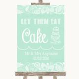 Green Burlap & Lace Let Them Eat Cake Customised Wedding Sign
