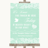 Green Burlap & Lace Loved Ones In Heaven Customised Wedding Sign