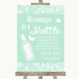 Green Burlap & Lace Message In A Bottle Customised Wedding Sign
