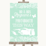 Green Burlap & Lace Photobooth This Way Left Customised Wedding Sign