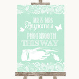 Green Burlap & Lace Photobooth This Way Right Customised Wedding Sign