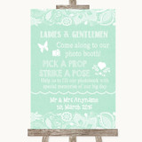 Green Burlap & Lace Pick A Prop Photobooth Customised Wedding Sign