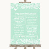 Green Burlap & Lace Romantic Vows Customised Wedding Sign