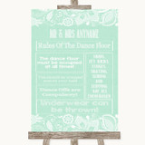Green Burlap & Lace Rules Of The Dance Floor Customised Wedding Sign